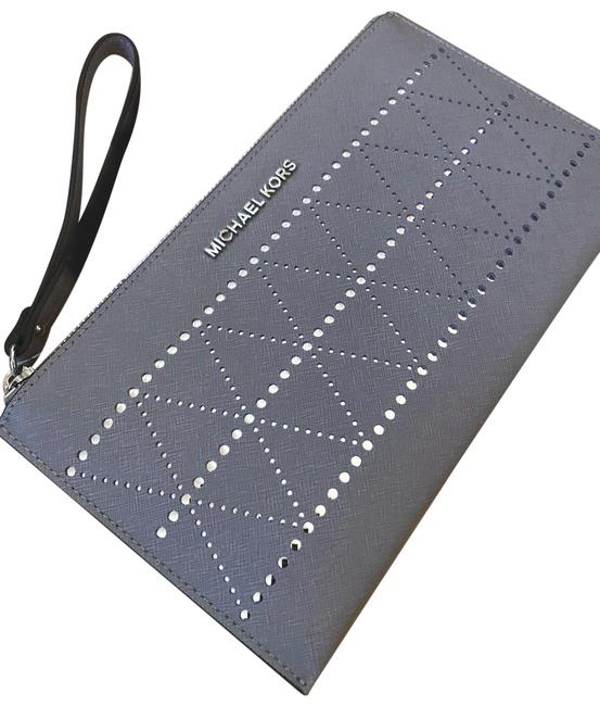Item - Perforated Jet Set Travel Large Zip Clutch/Wristlet Pearl Grey Saffiano Leather Clutch