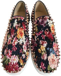 Christian Louboutin Leather Quilted Floral Spikes Multicolor Athletic