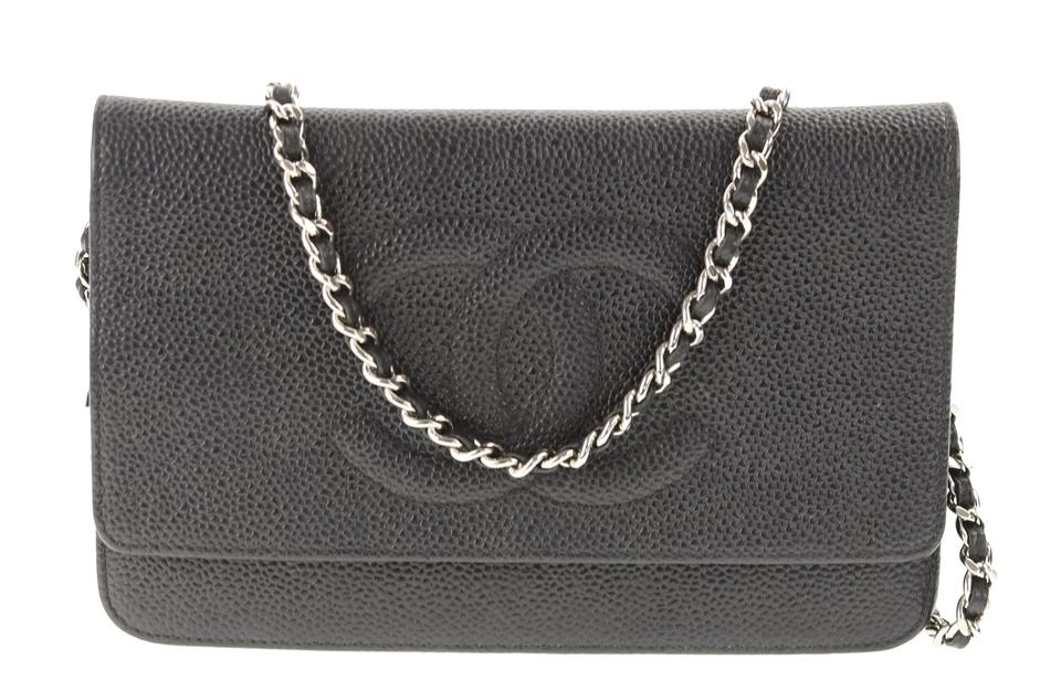 ac77e13b1f03 Chanel Timeless Wallet on Chain Caviar Black Leather Shoulder Bag ...