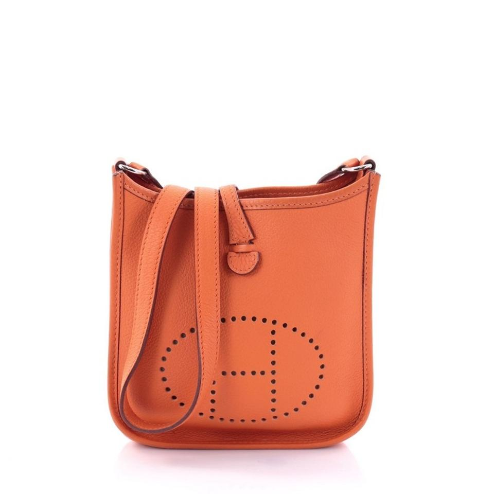 0c3e529ee7a2 Hermès Evelyne Long Strap Clemence Tpm Orange Leather Cross Body Bag 48%  off retail