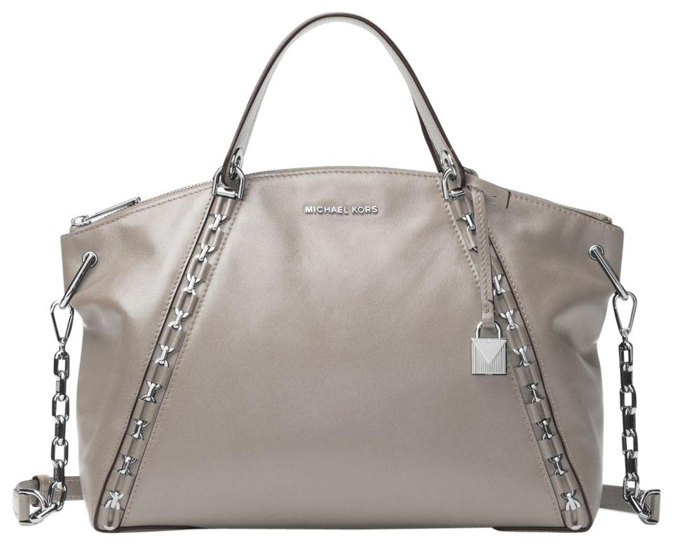 91084f8844d4 Michael Kors Mk Leather 30f7saes3l Satchel in Pearl Grey Image 0 ...