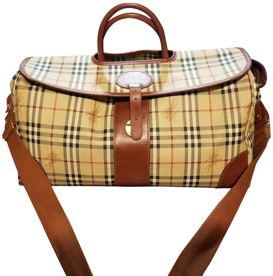 a72c6bf01a89 Burberry Duffel Check Plaid Canvas Weekend Travel Bag - Tradesy