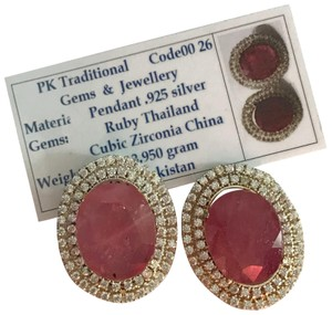 Handmade Ruby And Zirconia Earrings/July Birthstone/Birthday Gift for her/Valentines Day Gift