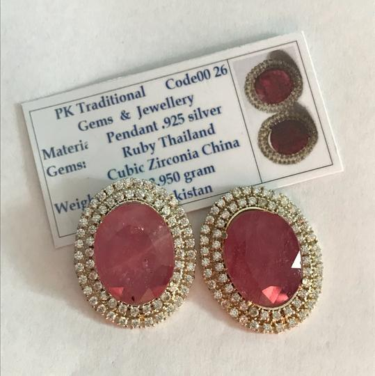 Handmade Ruby And Zirconia Earrings/July Birthstone/Birthday Gift for her/Valentines Day Gift Image 2