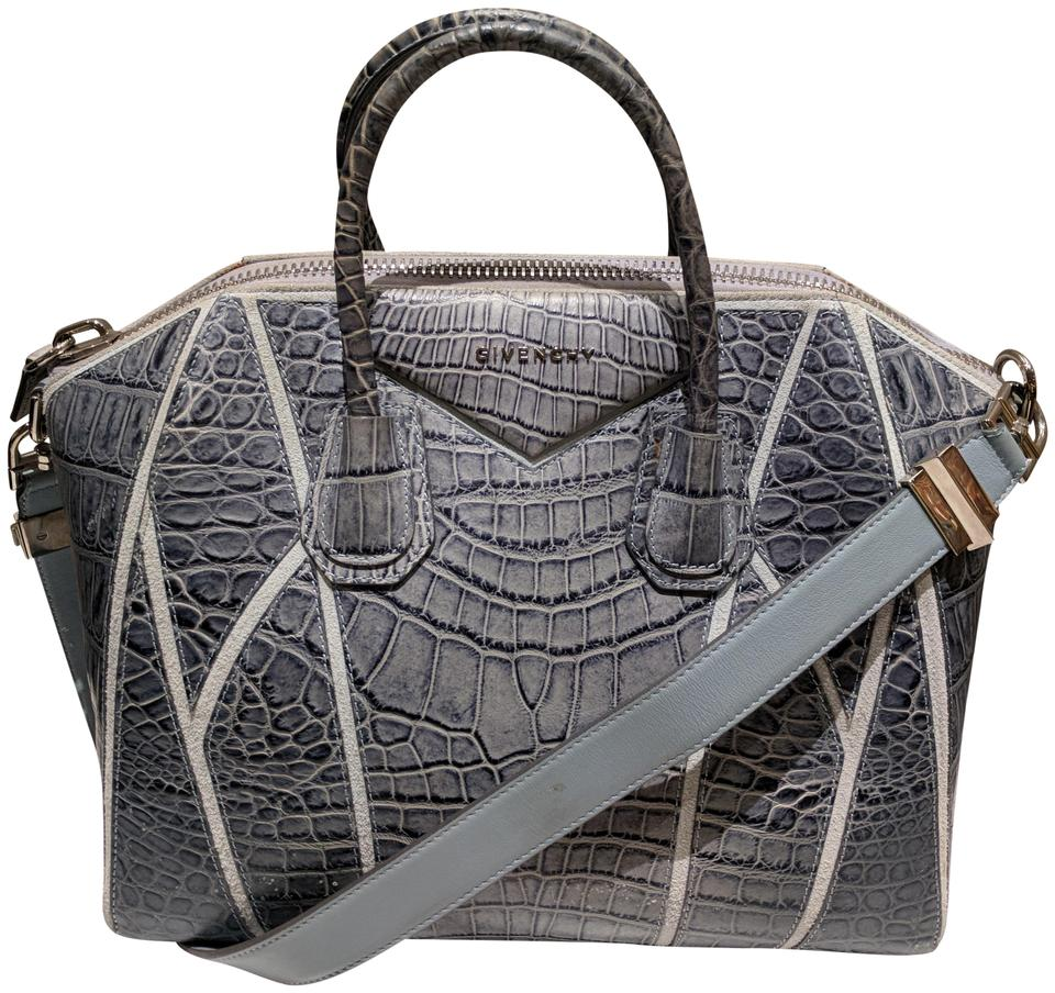 b56141f324 Givenchy Medium Croc-embossed Antigona Duffle Blue Textured Leather Tote