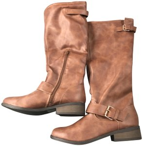 Charlotte Russe New With Tags Buckles 1 Inch Heel Zipper Man Made Materials Cognac Boots