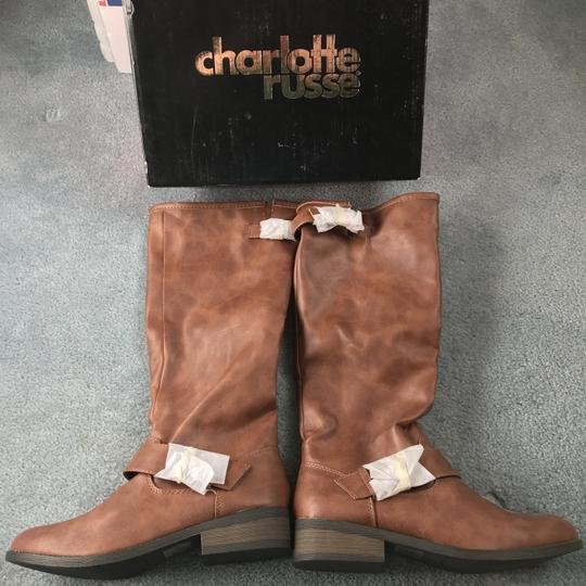 Charlotte Russe New With Tags Buckles 1 Inch Heel Zipper Man Made Materials Cognac Boots Image 1