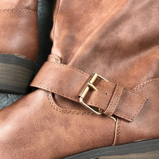 Charlotte Russe New With Tags Buckles 1 Inch Heel Zipper Man Made Materials Cognac Boots Image 3