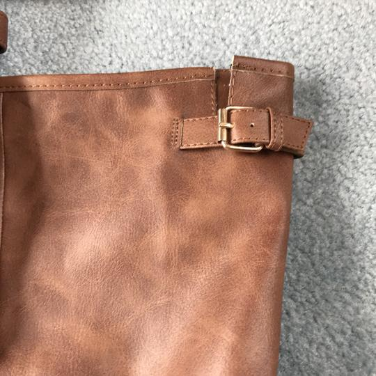 Charlotte Russe New With Tags Buckles 1 Inch Heel Zipper Man Made Materials Cognac Boots Image 4