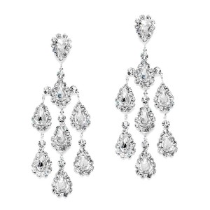 Mariell Silver Dramatic Crystal Rhinestone Chandelier 3680e Earrings