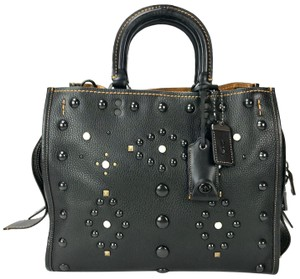 Coach 1941 Carryall Leather Shoulder Studded Leather Satchel in black