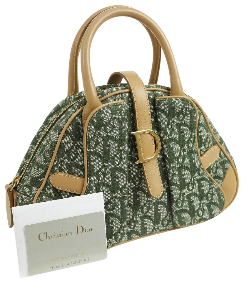 Dior Christian Trotter Pattern Hand Excellent A36817 Green Beige ... c6b562e761eea