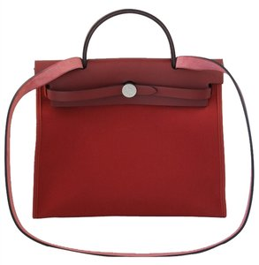 Hermès Zip Pm 31cm Rouge Cowhide Canvas Venitien Red Shoulder Bag