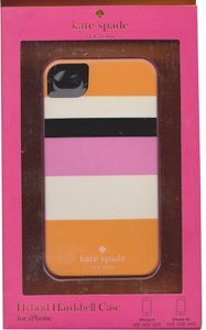 Kate Spade Kate Spade Hardshell Orange Pink Black White Stripe Case Cover iPhone 4/4S