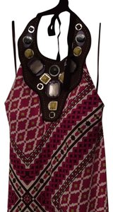 multicolor- fuchsia, white with brown Maxi Dress by Tory Burch