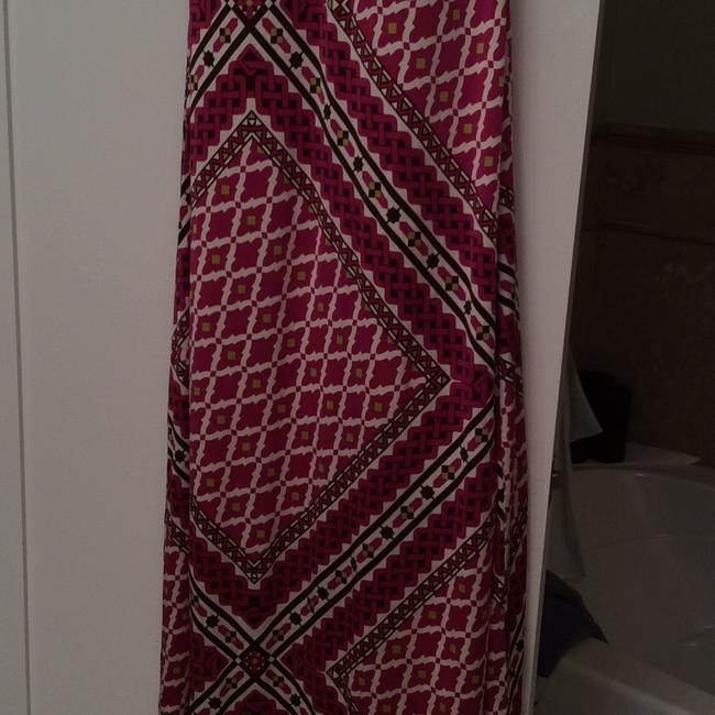 multicolor- fuchsia, white with brown Maxi Dress by Tory Burch Image 1