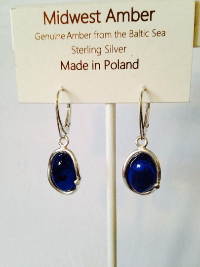 Midwest Amber NWT Blue Amber Cabochon ( Very Rare) In Sterling Silver