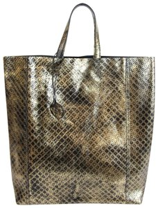 Bottega Veneta Intrecciomirage Top Handle Tote in Gold/Black