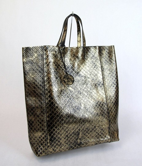 Bottega Veneta Intrecciomirage Top Handle Tote in Gold/Black Image 1