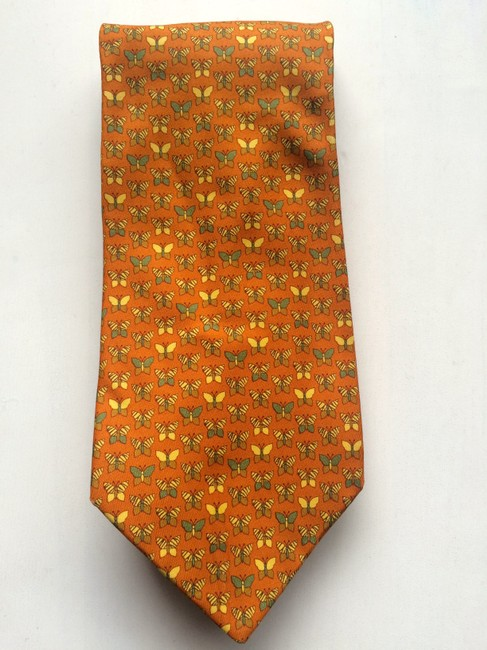 Salvatore Ferragamo Orange Silk with Butterfly Motif Tie/Bowtie Salvatore Ferragamo Orange Silk with Butterfly Motif Tie/Bowtie Image 1