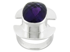 Jabez Jewelry Cushion African Amethyst Sterling Silver Ring -- Size 6