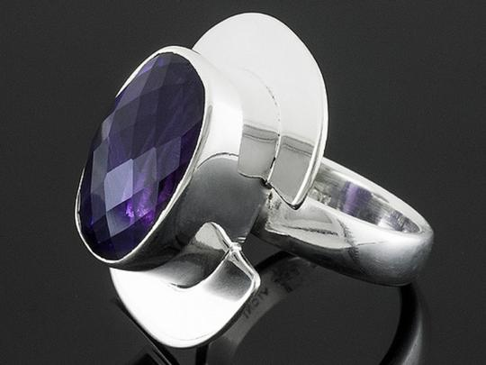 Jabez Jewelry Cushion African Amethyst Sterling Silver Ring -- Size 6 Image 2