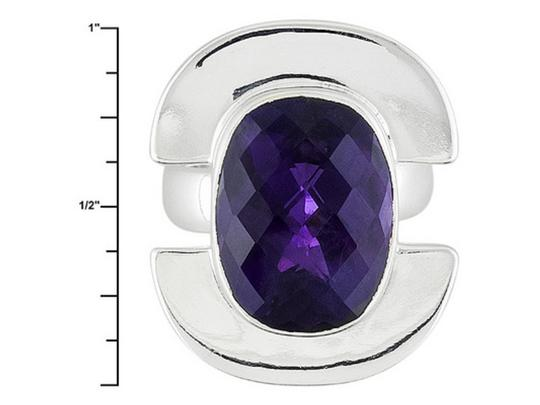 Jabez Jewelry Cushion African Amethyst Sterling Silver Ring -- Size 6 Image 3