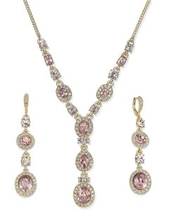 Givenchy Givenchy Multi-Crystal and Pavé Y-Neck Necklace + Drop Earrings