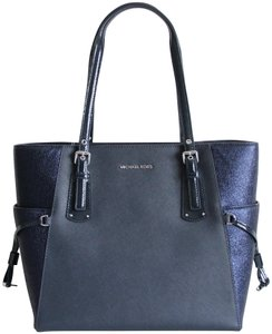 Michael Kors Leather Voyager Leather Blue Tote in Admiral