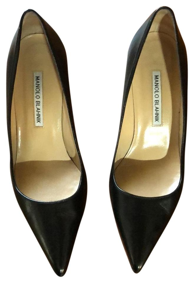 f82b43d1f8 Manolo Blahnik Black Leather (Not Patent/Shiny) Bb 70mm Pumps Size ...