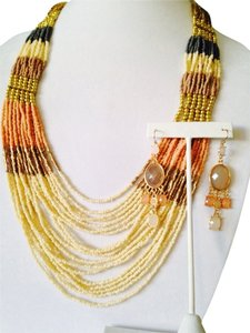 2 Piece Set Neutral Shades Of Seed Bead Necklace & Faceted Earrings