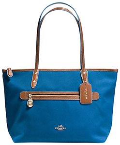 Coach Sawyer Canvas Nylon Tote in MIneral Blue