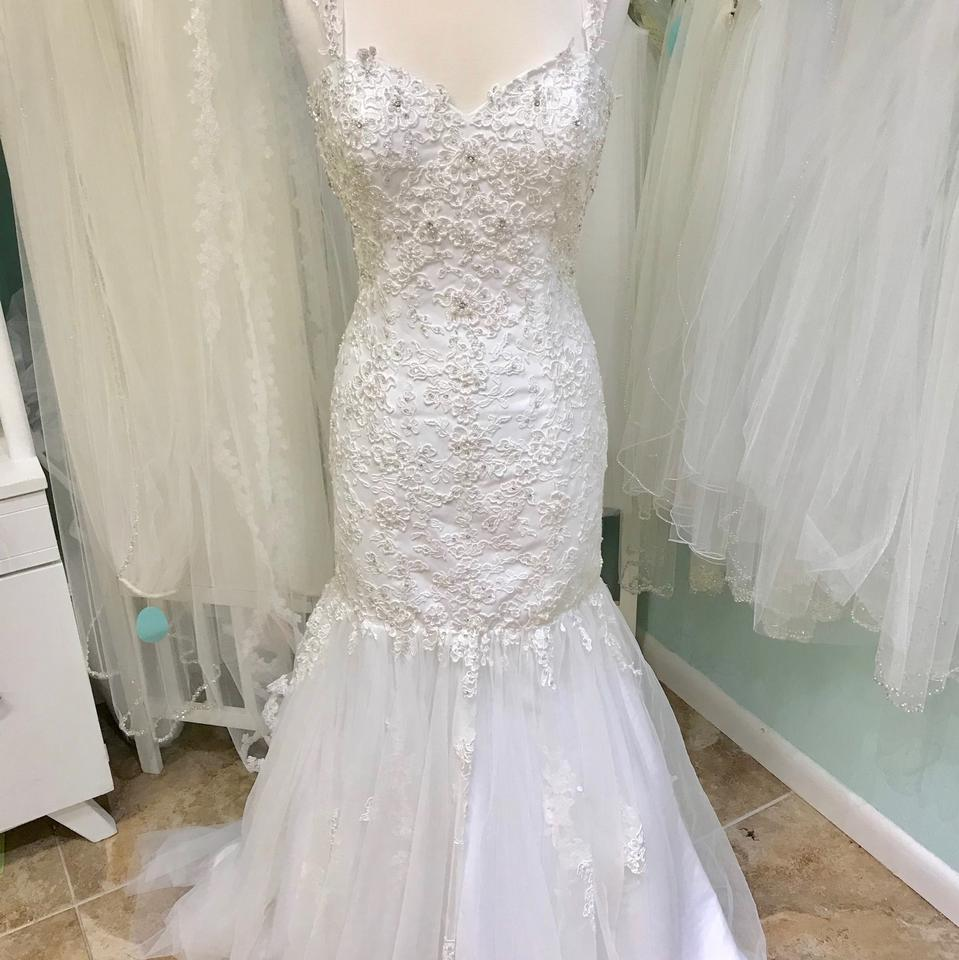 DaVinci Bridal Ivory Lace and Tulle 50330 Vintage Wedding Dress Size ...