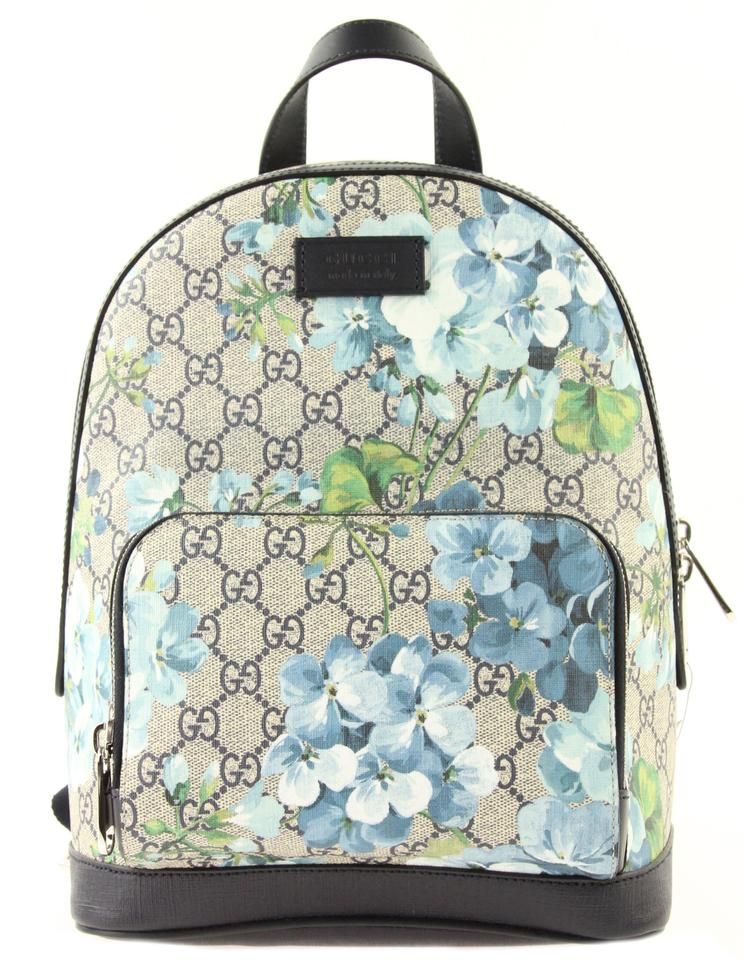 cac8b23fa7f Gucci Small Gg Blooms Blue Coated Canvas Backpack - Tradesy