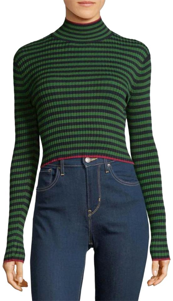 fe14a716c6939 Torn by Ronny Kobo Leslie Striped Cropped Turtleneck Pine Green Sweater