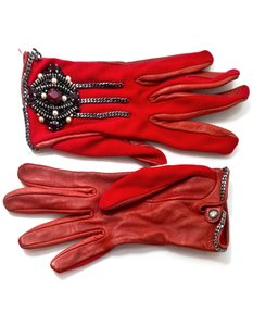 Chanel Chanel Red Leather & Jersey Embellished Gloves sz 7