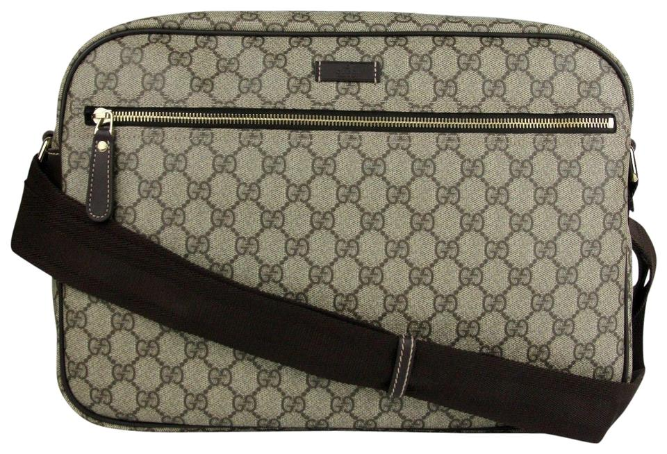 Gucci Men s Beige Ebony Gg Coated Canvas 211107 8588 Cross Body Bag ... 0236bd7389510