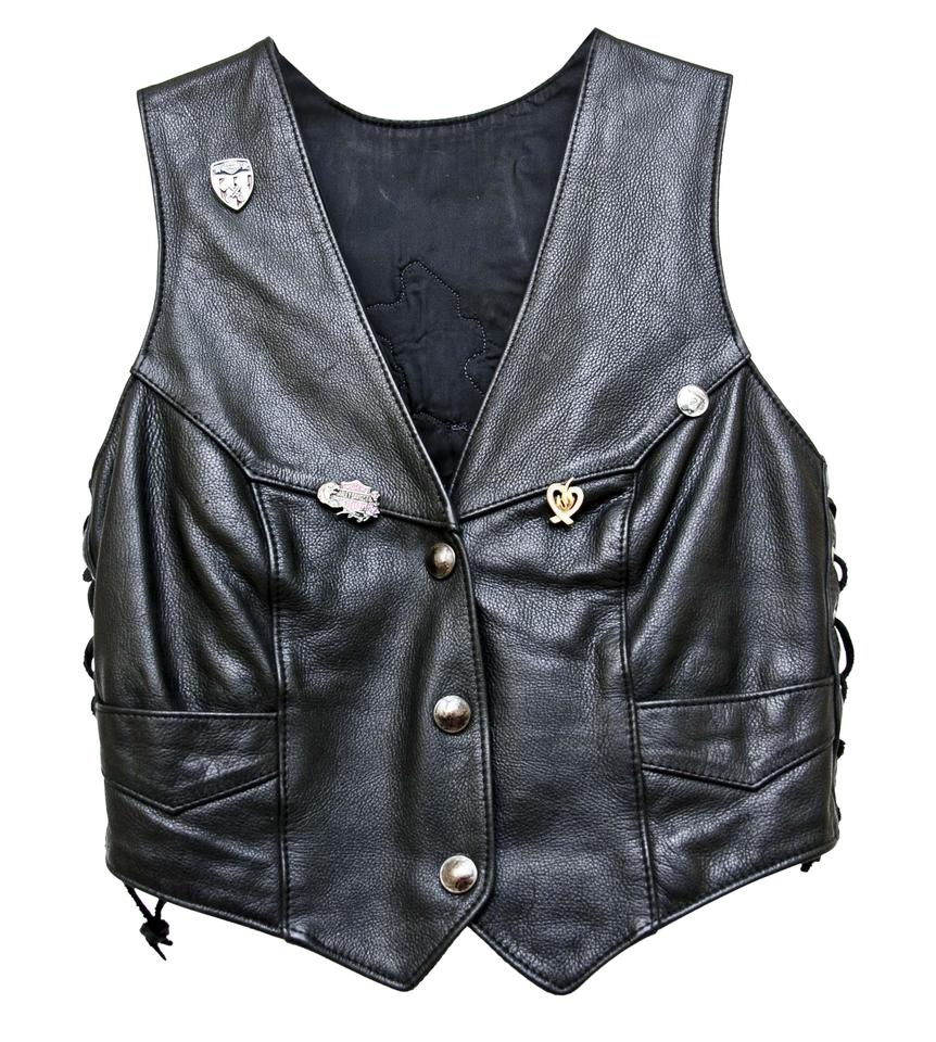 503b78b909cfd Black Leather Motorcycle Vest Size 4 (S) - Tradesy