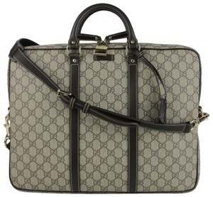 Gucci Men's Beige/Ebony Gg Coated Canvas 201480 Kgdhg 9643 Beige/Ebony Travel Bag