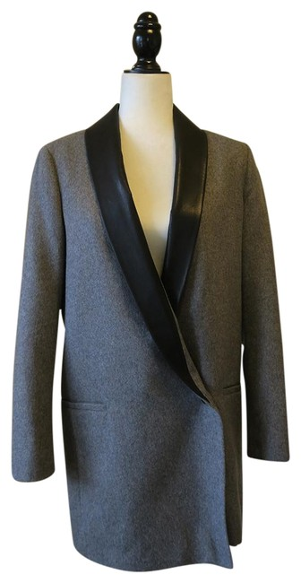 Item - Black/Gray Medium Length Wool Chester with Leather Coat Size 6 (S)