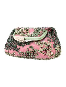 Fendi Beaded Borderline Evening Pink Floral Clutch