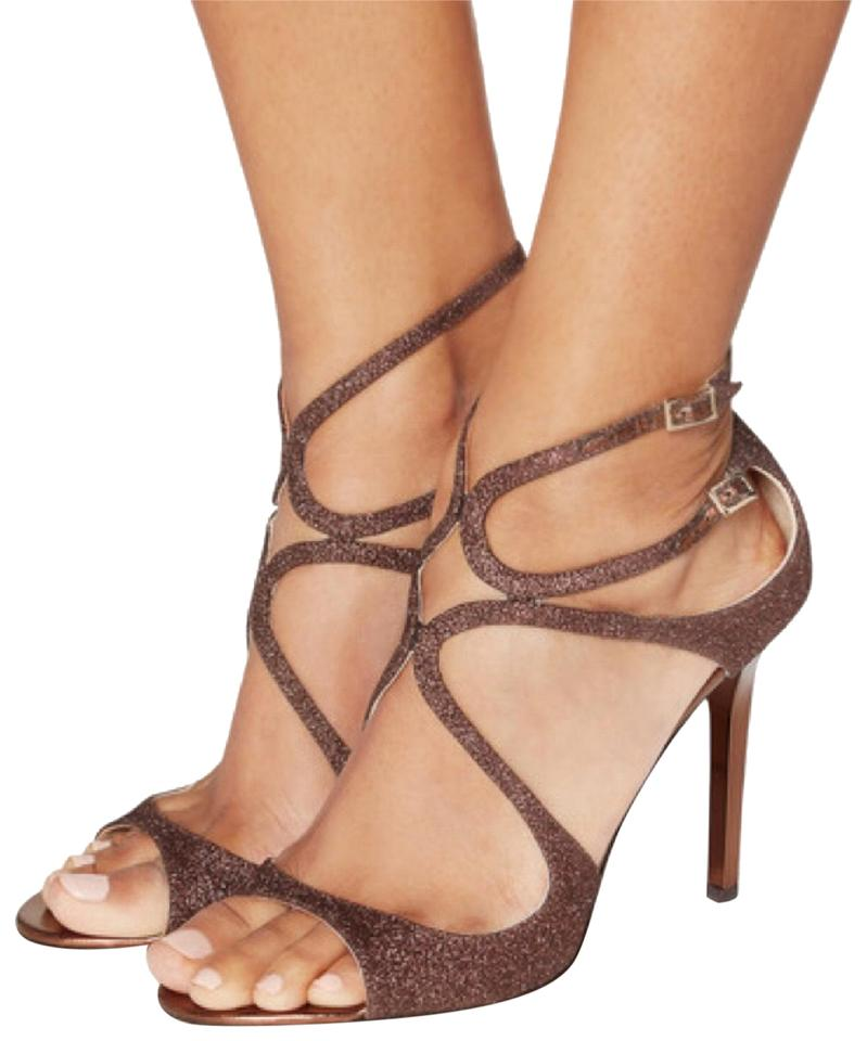 b987e90763e1 Jimmy Choo Brown Bronze Glitter Lang Strappy Heels Sandals Size EU ...