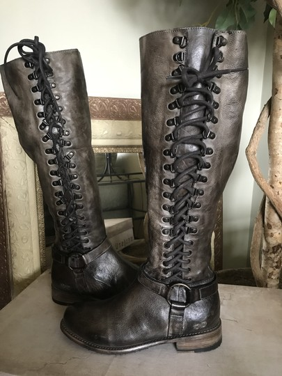 Bed|Stü Tall Lace Up Taupe/Brown Leather Side Zip Taupe Brown Rustic Boots Image 4