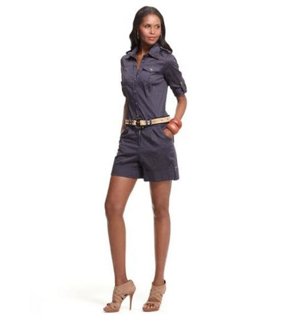Item - Navy Blue Dvf Juniper Playsuit Military Button Up Shirt Utility Army Romper/Jumpsuit