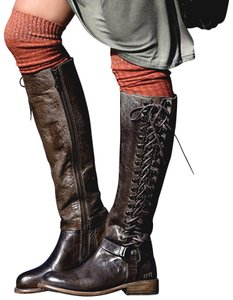 Bed Stü Tall Lace Up Taupe/Brown Leather Side Zip Taupe Brown Rustic Boots