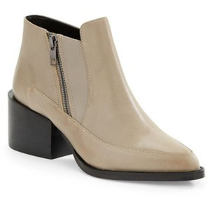 SOLD Design Lab Zipper Ankle Modern Leather Beige Boots