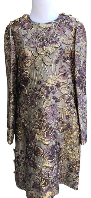 Preload https://img-static.tradesy.com/item/22808789/dolce-and-gabbana-multicolor-metallic-print-gold-button-detail-mid-length-cocktail-dress-size-12-l-0-1-650-650.jpg