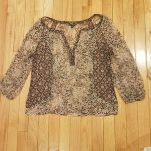 American Eagle Outfitters Top Black, tan & pink floral
