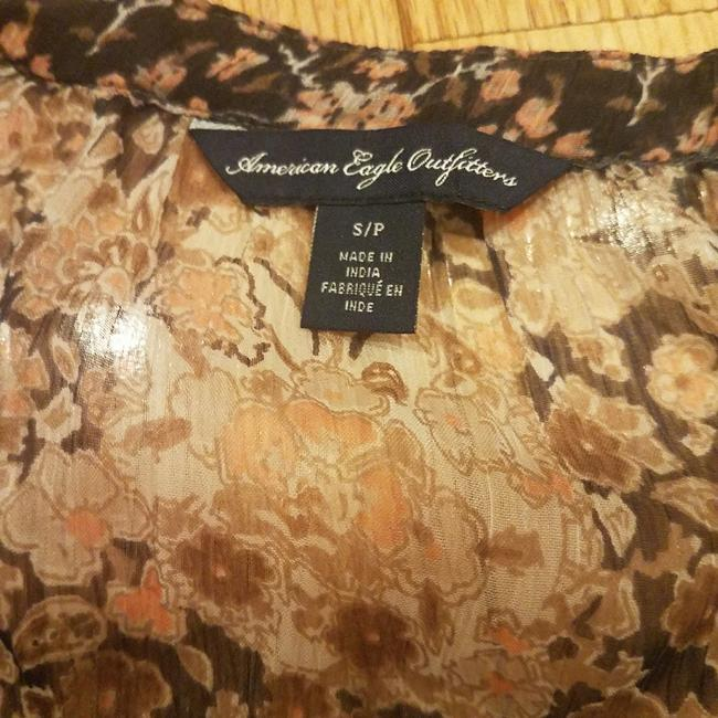 American Eagle Outfitters Top Black, tan & pink floral Image 2