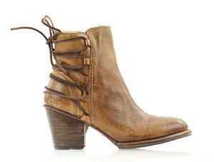 Bed|Stü Ankle Lace Up Tan Rustic Leather Brown Boots